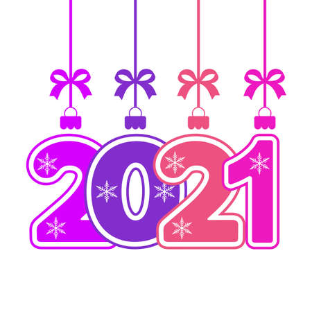 Happy New Year 2021 - greeting card, invitation, poster, colorful numbers on white background Illustration