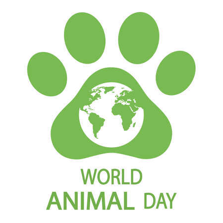 World Animal Day Poster, October 4 with green Planet Earth with paw icon, environment symbol.
