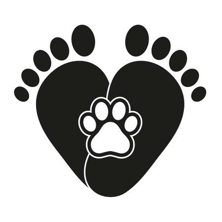 love for animals. human and dog footprints in the shape of a heart on a white background