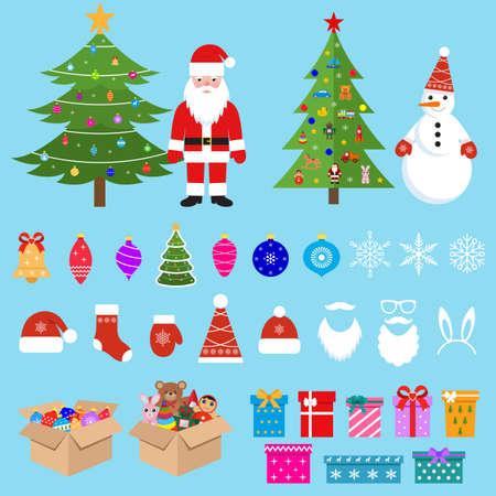 illustration of a big new year set with trees, santa, snowman and toys on a blue background