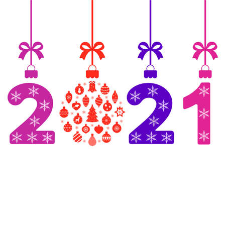 Happy new year 2021 greeting card template on white background.