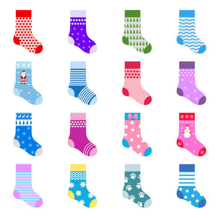 illustration collection of multicolored socks with patterns and stripes on white background Illustration
