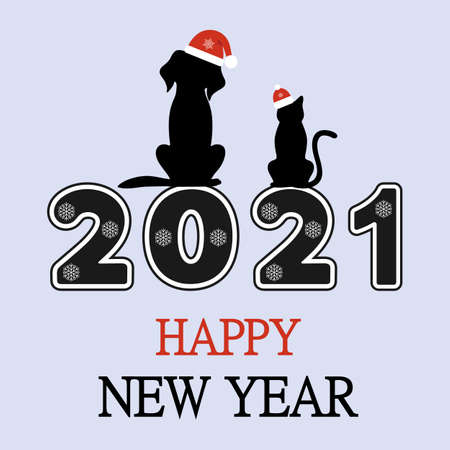 Happy New 2021 Year. Holiday illustration with dog and cat with text. Illustration