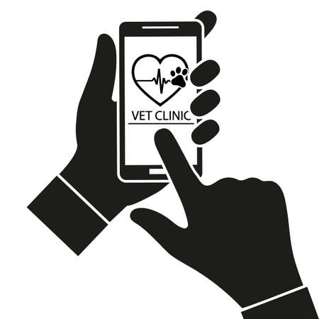 illustration of Online Veterinary appointment. Remote Vet consultation over white background.