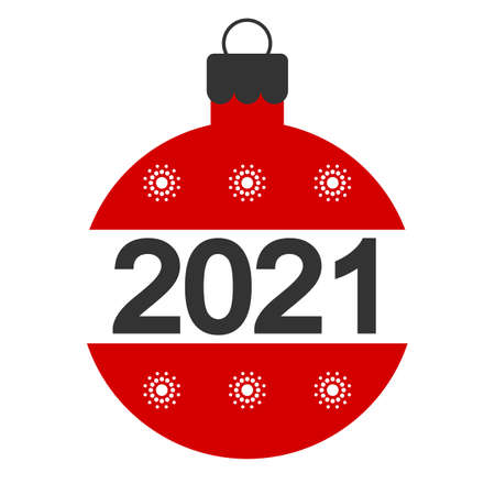 Happy New Year 2021 Red Balloon Text White Background