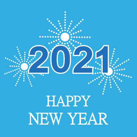 Happy New Year illustration with text Blue Background. Holiday Design for Premium Greeting Card, Party Invitation.