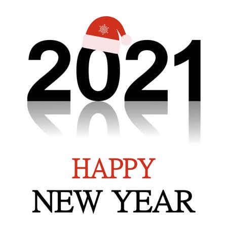 Illustration Happy New Year 2021. Greeting card.