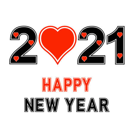 Happy new year 2021 design template text with heart illustration on white background.