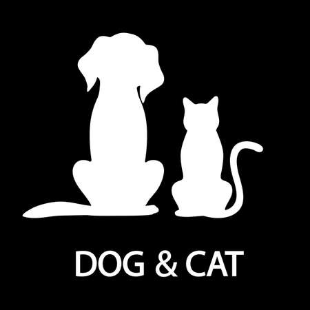 illustration of silhouettes of white cat and dog on a black background on a black background