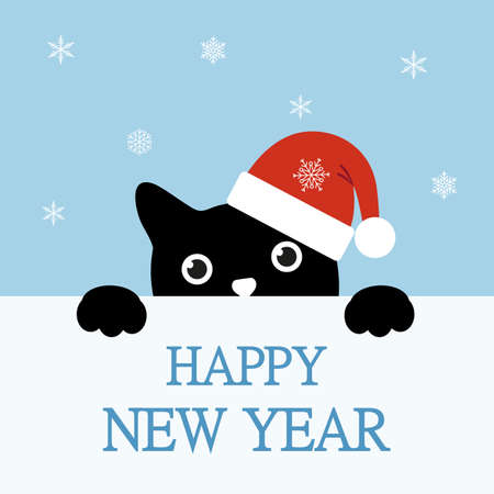 Illustration of cute kitten wearing Santa hat with snowflakes on background and text Happy New Year.