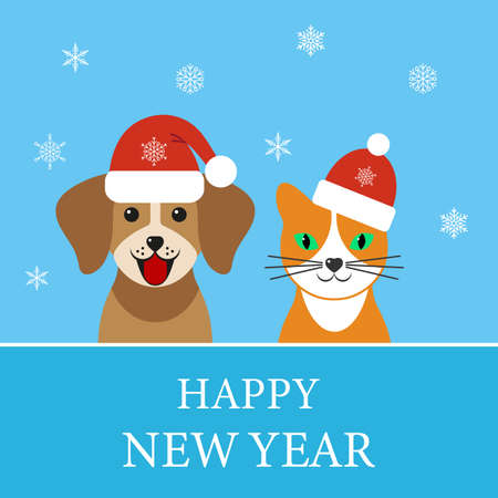 Happy New Year illustration. Dog and cat in santa claus hat with snowflakes on blue background