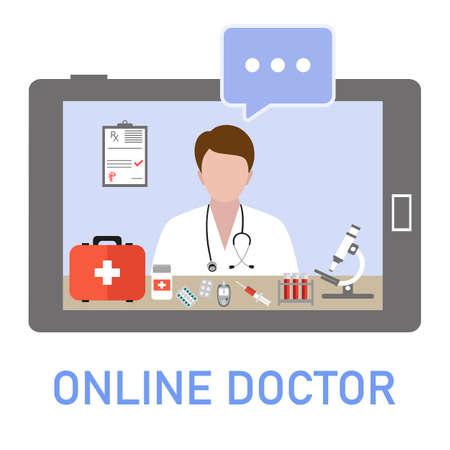 illustration Online doctor consultation via your tablet. Concept for medical app and websites. 矢量图像