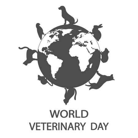 Illustration of World Veterinary Day. Pets on the background of the globe.