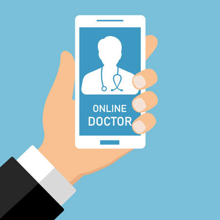 Online doctor and medical consultation concept illustration. Male doctor helps a patient on a smartphone.