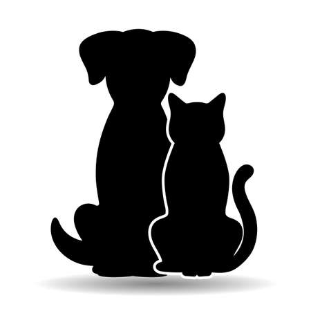 illustration of black cat and dog on white background