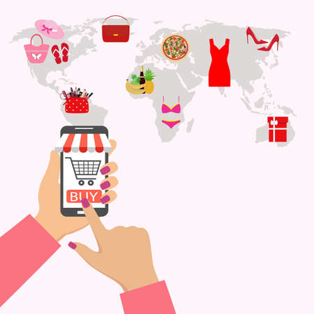 Online Shopping on Mobile Application Concept around the globe. Digital marketing illustration.