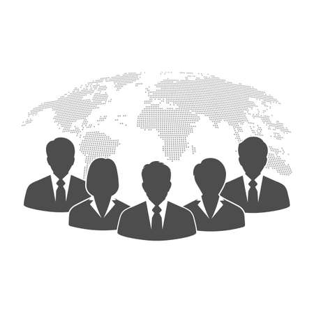 illustration people businessmen on the background of the globe
