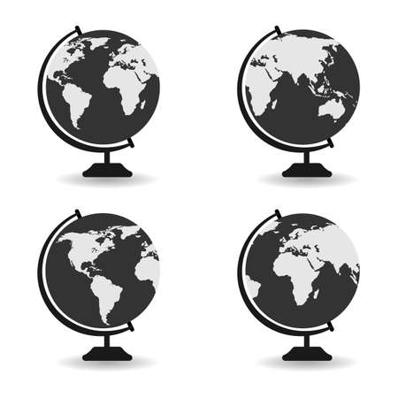 illustration set globe and earth planet icon on white background with shadow