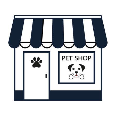 illustration of pet shop for pets isolated on white background Illustration
