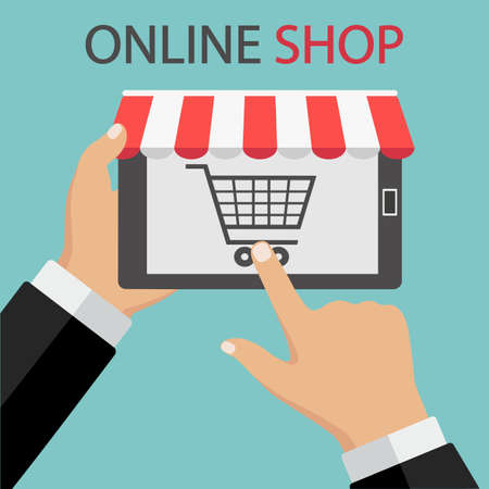 illustration of Shopping Online on Website or Mobile Application on green background