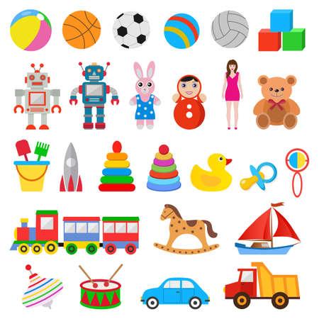 illustration childrens set of toys on white background