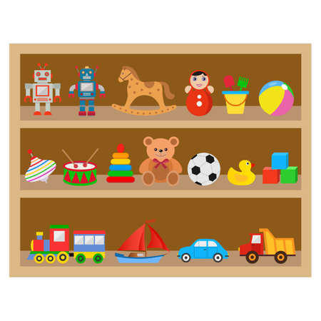 illustration of a shelf with children's toys on a white background