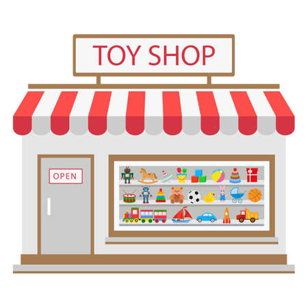 Toy shop isolated on white background. illustration for childhood design.