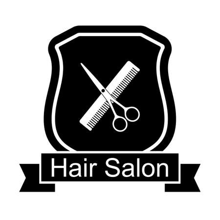 Illustration of Hair salon logo with scissors and combs on white background Illustration