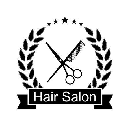 Hair salon logo design illustration on white background