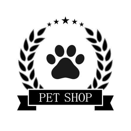 illustration of a logo of a store for animals. Dog paw in a laurel wreath with a banner Illustration