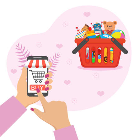 Illustration online toy store. Shopping with a mobile phone.