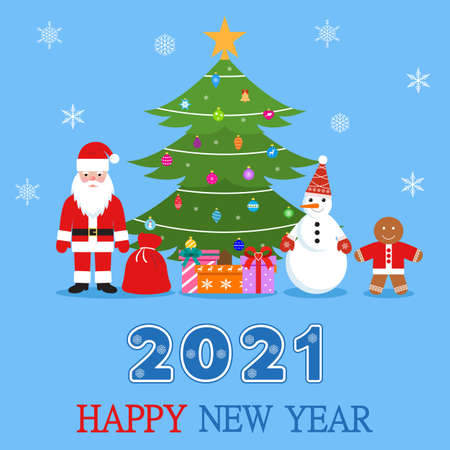 Happy new year 2021 illustration of santa claus, snowman and gingerbread man under the tree on a blue background.