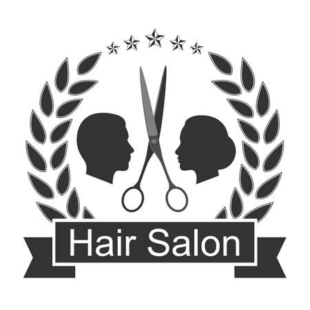 Illustration Scissor For Hair Salon Vintage Logo Design with silhouette of man and woman head in laurel wreath