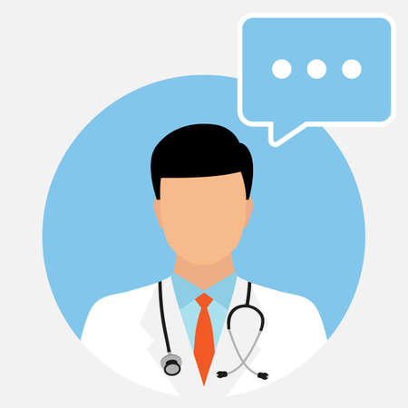 Doctor avatar with chat bubble. online medical consulting services. Illustration