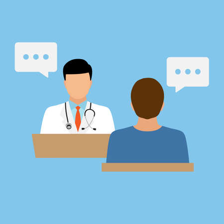 illustration of dialogue between doctor and patient on blue background