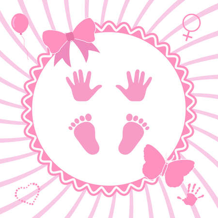 It's a girl. Baby gender reveal concept illustration. Pink colored on a white background.