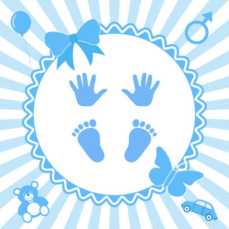 It's a boy. Baby gender reveal concept illustration. Blue colored on a white background.