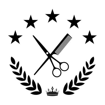 Illustration of a salon haircut. Scissors and comb in a laurel wreath with a crown and stars on a white background Illustration