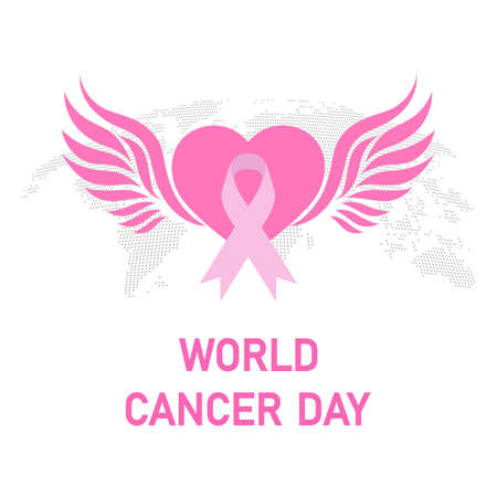 Illustration World Breast Cancer Day. Pink ribbon in the heart on the background of the globe. Illustration