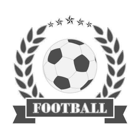 Soccer emblem illustration. Soccer ball in laurel wreath with banner on white background