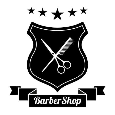 Barbershop, hair salon with barber scissors and comb on white background