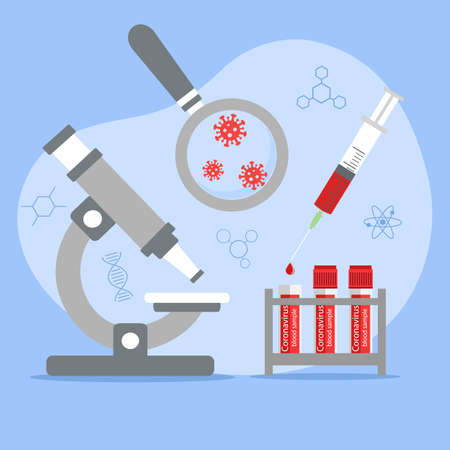 Chemical laboratory analysis, medical laboratory. Patient blood in test tubes, laboratory research Medical blood test concept. Illustration