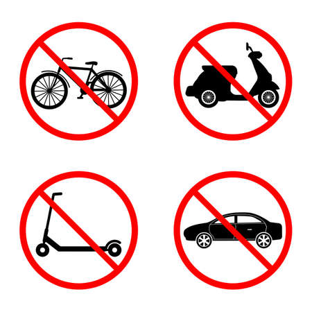 illustration set of a sign prohibited the movement of a motorcycle, car, scooter and bicycle in a red crossed out circle on a white background Illustration