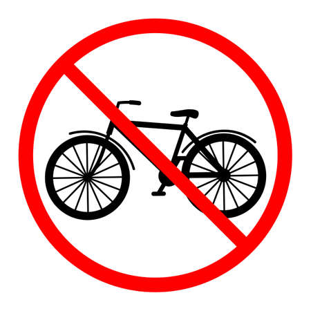 illustration of a prohibited bike sign in a red crossed out circle on a white background