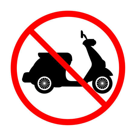 illustration of a sign prohibited from driving a motorcycle in a red crossed out circle on a white background