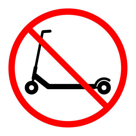 illustration sign prohibited scooter movement in red crossed out circle on white background