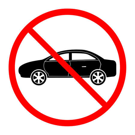 illustration of a car prohibited traffic sign in a red crossed out circle on a white background
