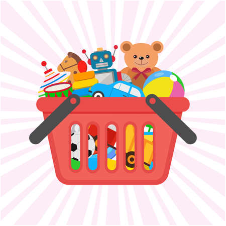 children's toys in the cart. illustration for promotional banners and discounts in online stores.