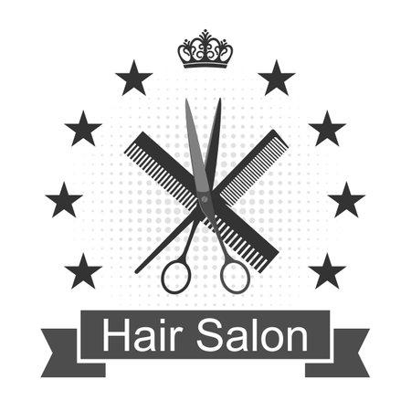 Barber shop  design emblem. Hairdressing salon signboard on a white background.
