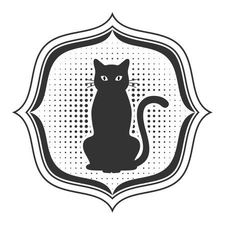 Cat Template. Pet emblem on white background